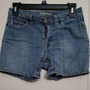 Lei Denim Shorts with Orange Floral Back Pockets